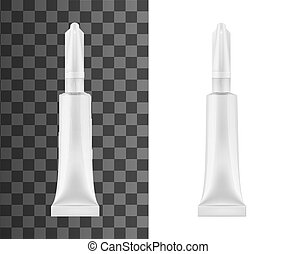 aislado, pegamento, vector, tubo, objeto, mockup