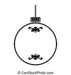 aislado, pelota, navidad, icono