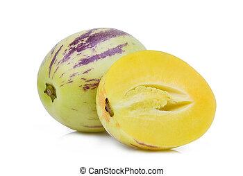 aislado, pepino, fruta, plano de fondo, mitad, melón, blanco, entero