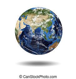 aislado, planeta, globo