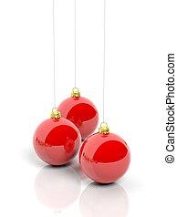 aislado, Plano de fondo, pelotas, blanco, navidad, rojo