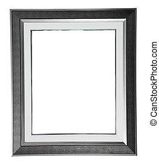 aislado, plata, moderno, marco, blanco