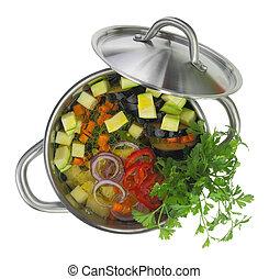 aislado, pote de la sopa, vegetal, fresco, blanco