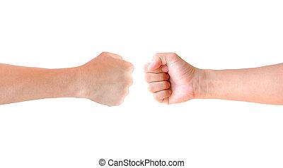 aislado, puño, mano