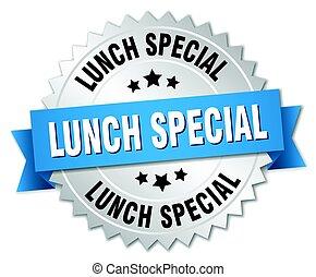 aislado, redondo, almuerzo, insignia, plata, especial