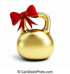 aislado, regalo, dorado, dumbbell, fondo., blanco