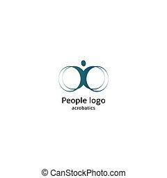 aislado, resumen, azul, color, cuerpo humano, silueta, con, circular, elementos, logotipo, blanco, plano de fondo, vector, illustration.