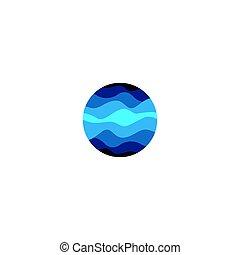 aislado, resumen, azul, color, redondo, forma, logotipo, blanco, plano de fondo, agua, vector, illustration.