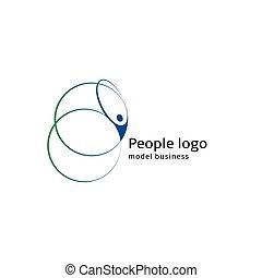 aislado, resumen, azul y verde, color, cuerpo humano, silueta, con, circular, elementos, logotipo, blanco, plano de fondo, vector, illustration.