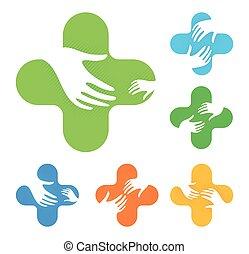 aislado, resumen, colorido, cruz, con, dos manos, alcanzar, uno al otro, logotipo, conjunto, médico, elemento, logotype, colección, blanco, plano de fondo