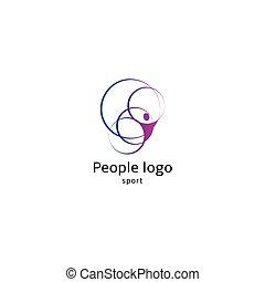 aislado, resumen, rosa, color, cuerpo humano, silueta, con, círculos, logotipo, blanco, plano de fondo, vector, illustration.