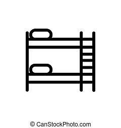 aislado, símbolo, contorno, cama, ilustración, cómodo,...