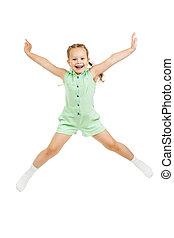 aislado, saltar, niño, niña, blanco, feliz