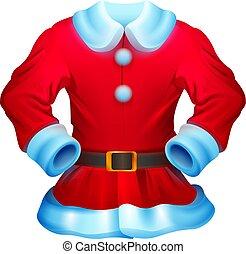 aislado, santa claus, rojo, disfraz, navidad blanca, ilustración