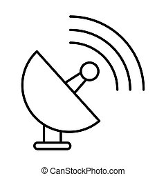 aislado, satelite, comunicación, antena, icono