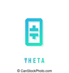 aislado, señal, cryptocurrency, muestra, theta, moneda