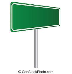 aislado, señal, verde, blanco, blanco, camino