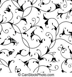 aislado, seamless, oriental, plano de fondo, floral, negro