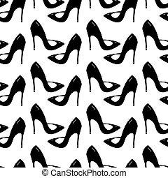 aislado, shoes., acción, fondo., seamless, patrón, vector, illustration., stilettos, hecho, garabato, blanco