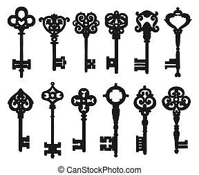 aislado, siluetas, llave, vendimia, negro