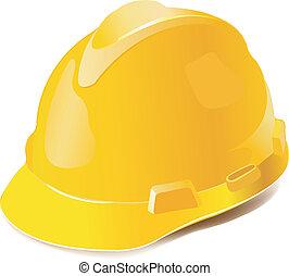 aislado, sombrero, amarillo, duro, blanco