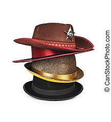 aislado, sombreros diferentes, pila