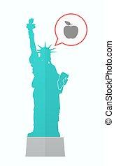 aislado, statue of liberty, con, un, manzana