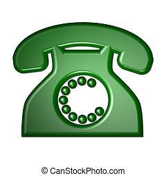 aislado, teléfono, verde