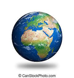 aislado, tierra de planeta, actuación, europa, y, áfrica