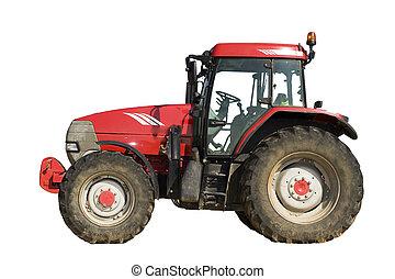 aislado, tractor, rojo