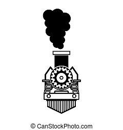 aislado, tren, silueta, vapor, icono