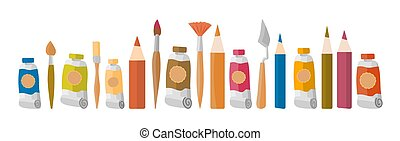 aislado, vector, cuchillo, ilustración, tubo, dibujo, pinturas, paleta, pencils., dibujo, arte, educación, arte, blanco, acuarela, fondo., paleta, diseñar, aceite, estudio, pintura, plano, herramientas