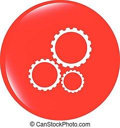 aislado, vector, engranajes, plano de fondo, blanco, (button), icono