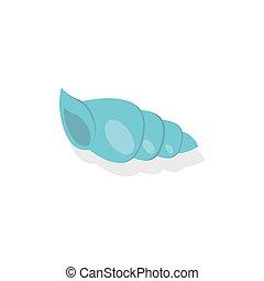 aislado, vector, plano de fondo, shell., blanco, icono