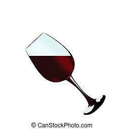 aislado, vidrio, plano de fondo, rojo blanco, vino