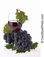 aislado, vino rojo
