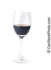 aislado, vino rojo, vidrio