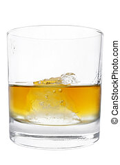aislado, whisky, vaso