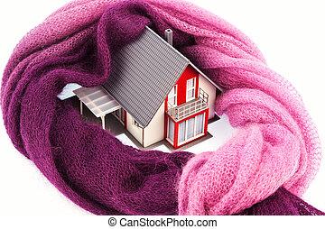 aislamiento, casa, scarf., icono, foto