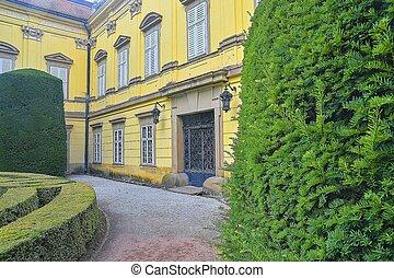 aislamiento, con, balaustrada, en, sitio, de, buchlovice, castillo, república checa