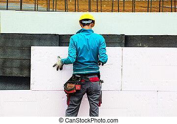 aislamiento, trabajadores, construcción