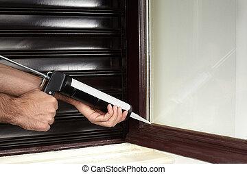 aislar, ventana, con, calafateando fusil