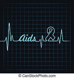 aiuti, fare, parola, simbolo, battito cardiaco
