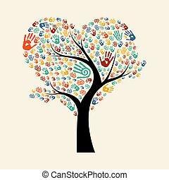 aiuto, albero, illustrazione, mano, diverso, squadra
