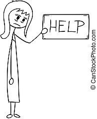 aiuto, depresso, donna d'affari, segno, concettuale, cartone animato