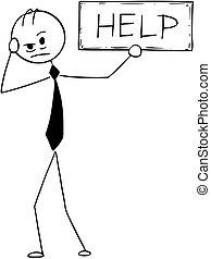 aiuto, depresso, segno, concettuale, uomo affari, cartone animato