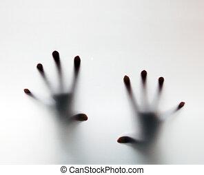 aiuto, frosted, toccante, vetro., mani, concettuale, grido