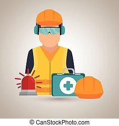 aiuto, icona, lavoratore, kit, casco