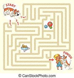 aiuto, il, carattere, a, trovare, uno, uscita, di, il, labirinto