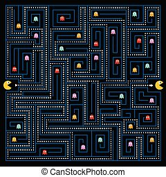 aiuto, il, pacman, carattere, a, trovare, uno, uscita, di, il, labirinto